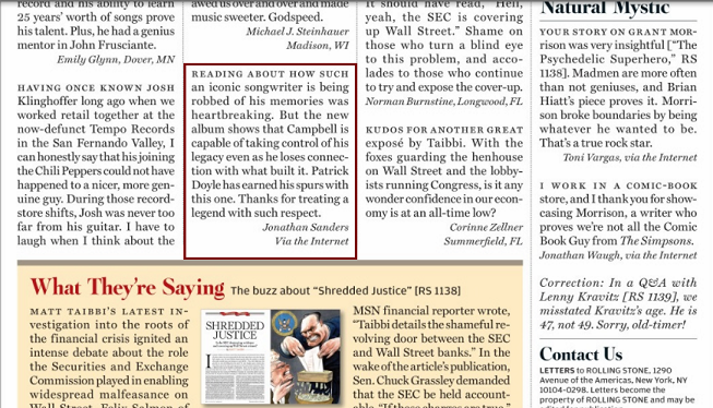 Rolling Stone Letters Page
